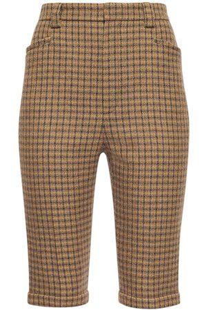 SAINT LAURENT Mujer Pantalones cortos - | Mujer Shorts De Lana Vintage Con Cuadros Vintage 34