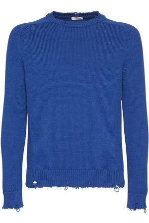 SAINT LAURENT | Hombre Suéter De Punto De Algodón Desgastado Xs