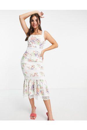 Lipsy London Vestido midi con estampado floral de encaje de