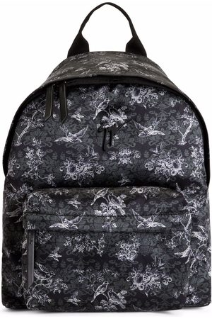 Giuseppe Zanotti Bud floral-print backpack and. Black floral-print fabric Metal Signature Zip fastening at the top