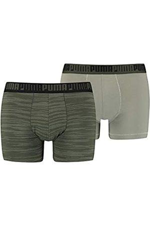 PUMA Men's Spacedye Stripe Boxer (2 Pack) Ropa Interior
