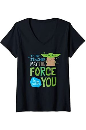 STAR WARS Mujer The Mandalorian Grogu May The Force Be with You Camiseta Cuello V