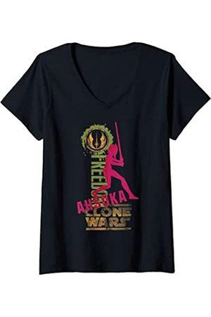 STAR WARS Mujer Clone Wars Ahsoka Silhouette Poster Camiseta Cuello V