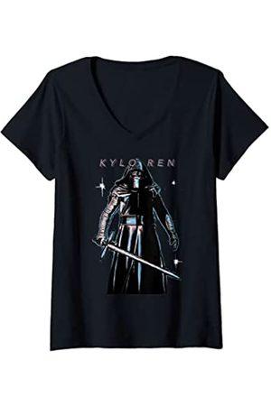 STAR WARS Mujer The Force Awakens Kylo Ren Portrait Camiseta Cuello V