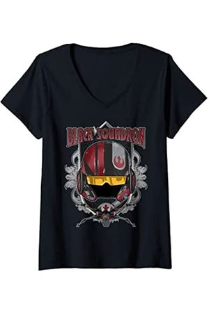 STAR WARS Mujer Black Squadron Helmet And X-Wing Camiseta Cuello V