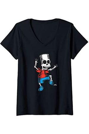 The Simpsons Mujer Bart Skeleton Treehouse of Horror Halloween Camiseta Cuello V