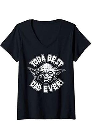 STAR WARS Mujer Yoda Best Dad Camiseta Cuello V