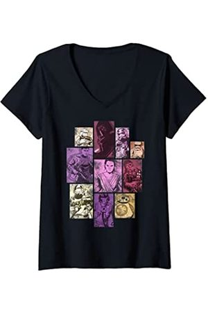 STAR WARS Mujer The Force Awaken Vintage Group Collage Camiseta Cuello V