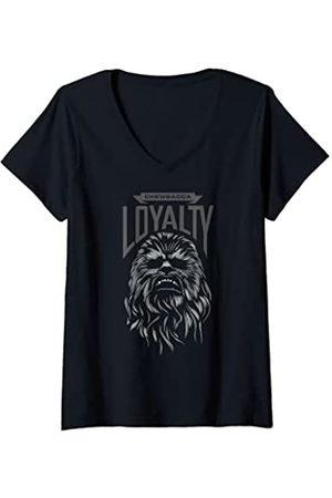STAR WARS Mujer The Force Awakens Chewbacca Loyalty Portrait Camiseta Cuello V