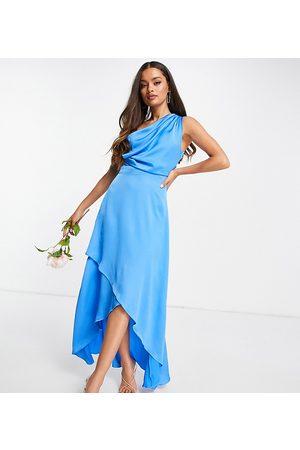 TFNC Petite Mujer Asimétricos - Vestido de dama de honor largo azul asimétrico de