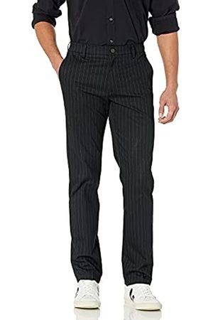 Goodthreads Pantalón chino sin arrugas, ajustado, para hombre, Rayas Finas Negras (Black Pinstripe)