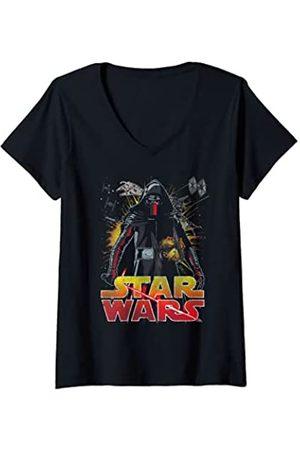 STAR WARS Mujer The Force Awakens Kylo Ren Fighter Portrait Camiseta Cuello V