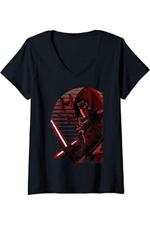STAR WARS Mujer The Force Awakens Kylo Ren TIE Fighter Portrait Camiseta Cuello V