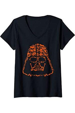 STAR WARS Mujer Halloween Darth Vader Big Face Camiseta Cuello V