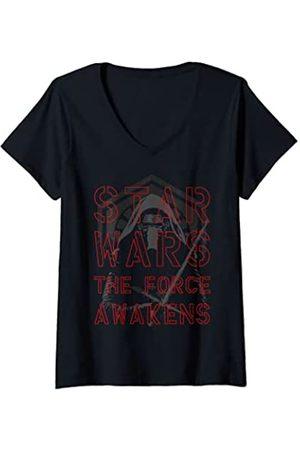 STAR WARS Mujer The Force Awakens Kylo Ren Darkened Portrait Camiseta Cuello V
