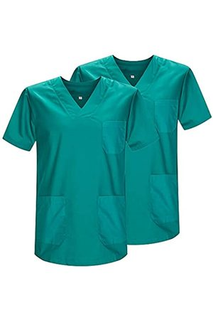 MISEMIYA Pack*2 - Casaca Sanitarios Unisex Uniformes Sanitarios Cuello Pico Mangas Cortas Uniformes Laboratorios - Ref.817 * 2 - M