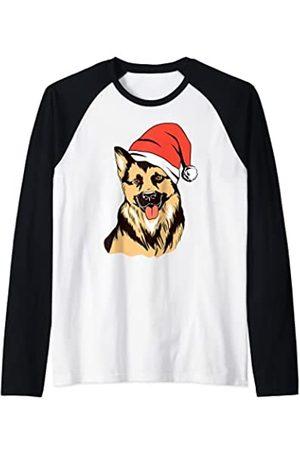 Recuerdo de Navidad del perro pastor alemán Pijama de Navidad con gorro de Papá Noel con perro pastor Camiseta Manga Raglan