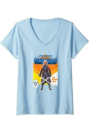Star Wars: The Mandalorian Mujer Jedi Ashoka Tano Lightsaber Camiseta Cuello V