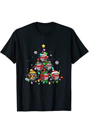 Funny Hedgehog Christmas Pajamas Gift Santa Lover Santa Erizo Luces Del Árbol De Navidad Divertidas Pijamas Navidad Camiseta