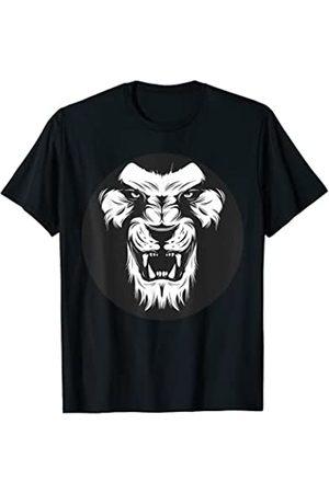 DBG Boutique Tee Lion Head Face Crown Art Lienzo Lobo Gráfico Dibujos Camiseta