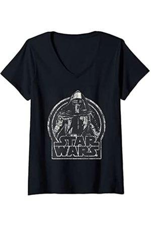 STAR WARS Mujer The Force Awakens Kylo Ren Distressed Portrait Camiseta Cuello V