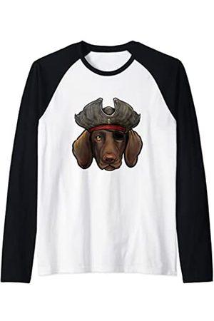 Whyitsme Design Divertido Pirata Perro Pointer Alemán de Pelo Corto Camiseta Manga Raglan