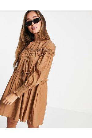 MANGO Mujer Casual - Vestido color con mangas abullonadas de popelina de -Beis neutro
