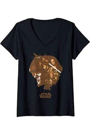 STAR WARS Mujer Poe Head Fill Camiseta Cuello V
