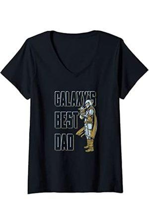 Star Wars: The Mandalorian Mujer Camisetas - Mujer & Grogu Father's Day Galaxy Dad Camiseta Cuello V