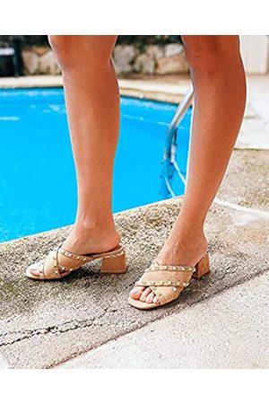 Alma en Pena Mujer Sandalias - Sandalias de tacón de Mujer Color Arena. V21284 Suede Sand - Talla: 37