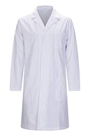 MISEMIYA Bata Laboratorios Caballero Cuello Solapa con Manga Larga Uniforme Laboral CLINICA Hospital Limpieza Ref:816 - XL