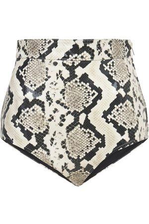 Alessandra Rich   Mujer Python Print Leather Mini Shorts 38