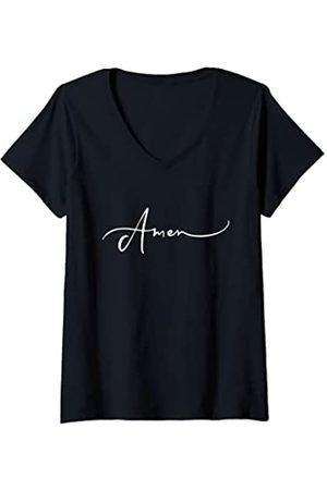 AMEN Mujer Amén Oración bíblica religiosa Bendiciones católicas protestantes Camiseta Cuello V