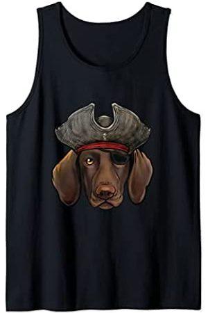 Whyitsme Design Divertido Pirata Perro Pointer Alemán de Pelo Corto Camiseta sin Mangas
