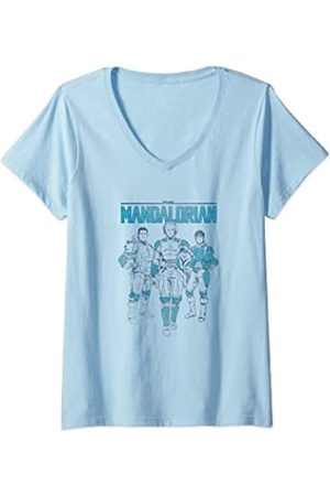 Star Wars: The Mandalorian Mujer Camisetas - Mujer Retro Bounty Hunters Camiseta Cuello V
