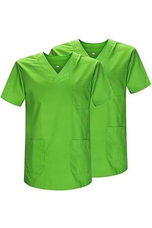 MISEMIYA Pack*2 - Casaca Sanitarios Unisex Uniformes Sanitarios Cuello Pico Mangas Cortas Uniformes Laboratorios - Ref.817 * 2 - L