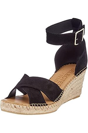 SELECTED SLFESTHER Wedge Suede Espadrilles B, Flacher Slipper Mujer, Black