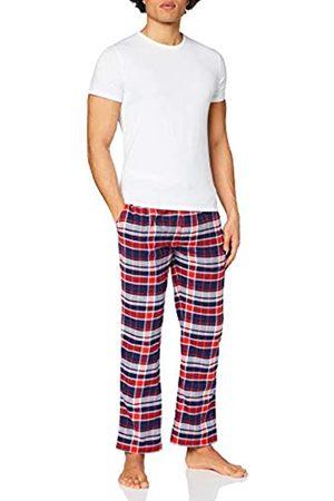 Superdry Hombre Pijamas - Laundry tee & Flannel Pant Set Conjunto de Pijama, Óptica/ Marino a Cuadros
