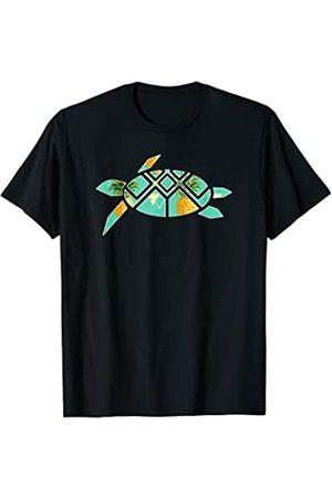 Tropical Vibes Store Tortuga marina con patrón tropical Camiseta