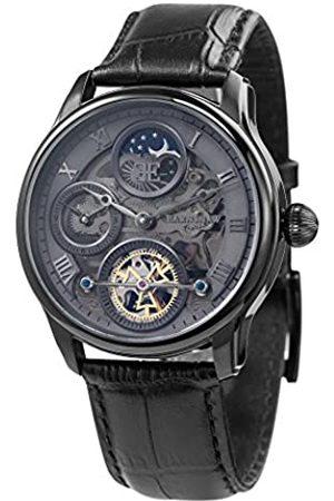 THOMAS EARNSHAW Thomas Earnhshaw – Reloj mecánico de hombre Shadow automático con esfera gris, mecanismo a la vista y correa de cuero negra