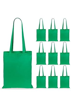 eBuyGB Lote de 10 bolsas de lona de algodón para la compra y playa de 42 cm - 1205809-10a