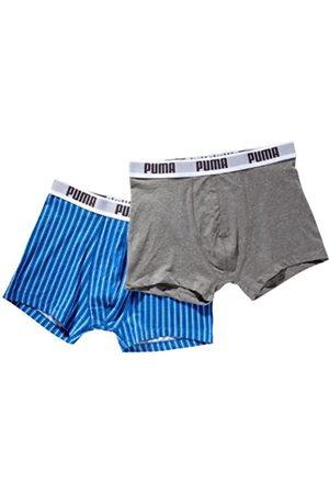 PUMA Pin Stripe-Calzoncillos para Hombre 2 Pares Multicolor Multicolore - Grigio Melange/BLU Talla:Small