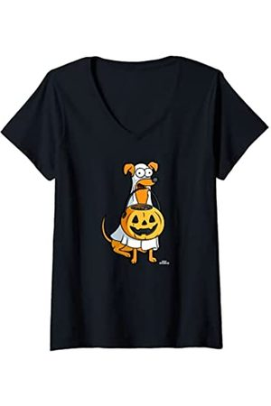 The Simpsons Mujer Santa's Little Helper Halloween Camiseta Cuello V