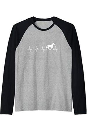 Love horses and equestrian riding Love Horses Heartbeat Línea EKG Camiseta Manga Raglan