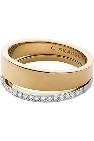 Skagen Anillo Elin de Acero Inoxidable en Tono con Cristales para Mujer SKJ1451998; 9