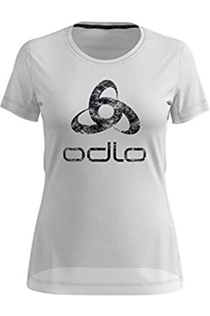 Odlo T-Shirt s/s Crew Neck Element Light Camiseta, Mujer, White-Placed Print FW19
