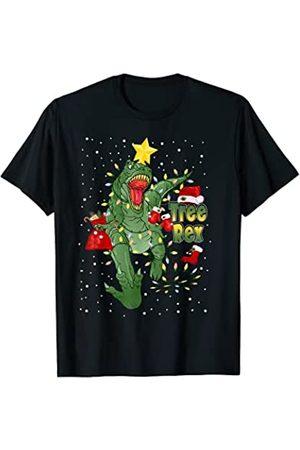 Niños niños dinosaurio árbol rex hombres Árbol Rex Dinosaur Pijamas Luces de Navidad para hombres niñ Camiseta