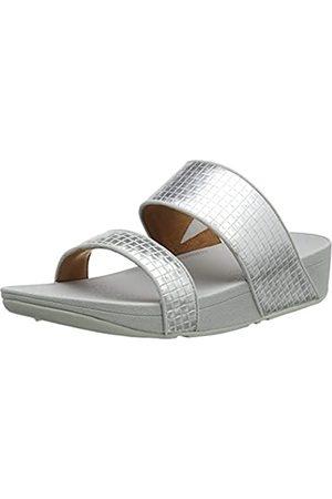 FitFlop Olive Slide-Metallic Raffia, Sandalias deslizantes Mujer, Silver