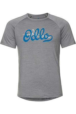 Odlo Crew Neck Concord T-Shirt Camiseta para Hombre, Grey Melange-Odountain Print SS20