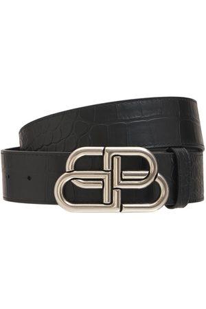 Balenciaga | Hombre Cinturón De Piel Con Logo Y Hebilla De Logo 80
